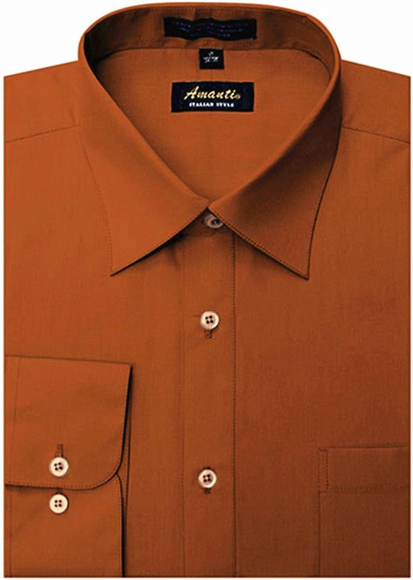 Amanti Men's Classic Dress Shirt Convertible Cuff Solid
