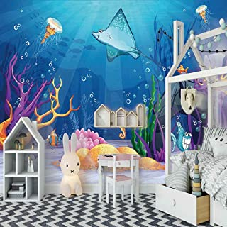 VITICP Adults Kids Wall Stickers Decals Peel and Stick Removable Wallpaper Blue Ocean Coral for Nursery Bedroom Living Roo...