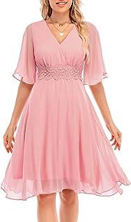 Sponsored Ad - Bbonlinedress-Women's-Summer-Floral-Chiffon Short Sleeve V-Neck Casual Beach Party Dress