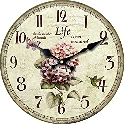 ShuaXin Home Decor Wall Clocks,16 Inch Large Vintage Wall Clock for Room Decoration,Wood Decorative Colorful Flower Wall Clock for Bedroom,Living Room