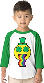 Leprechaun Emoji Throwing Up Rainbow Toddler 3/4 Raglan Shirt