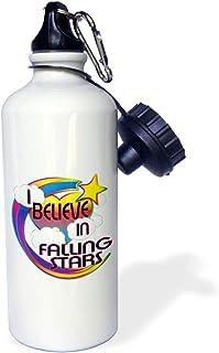 3dRose Falling Stars Cute Believer Design-Sports Water Bottle, 21oz (wb_166475_1), 21 oz Multicolor