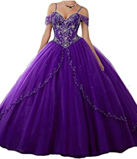 Women's Cap Sleeves Tulle Long Quinceanera Dress Cyrstal Beaded Sweet 16 Ball Gown