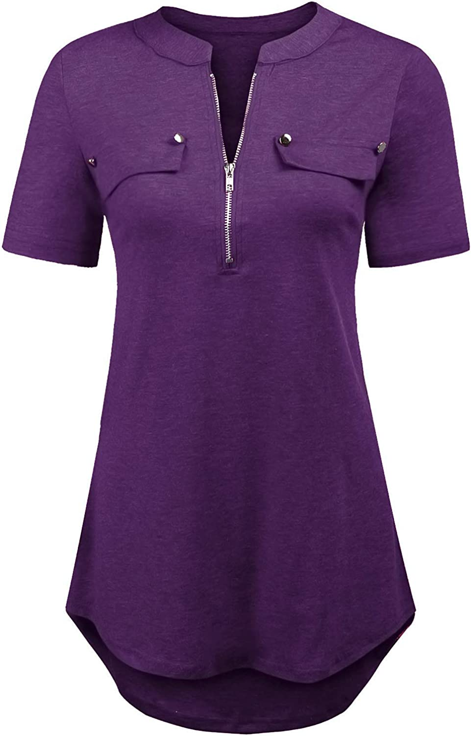 LuckyMore Women's Short Sleeve Zip Flowy Tunic Tops Business Casual Work Office Blouses Shirts