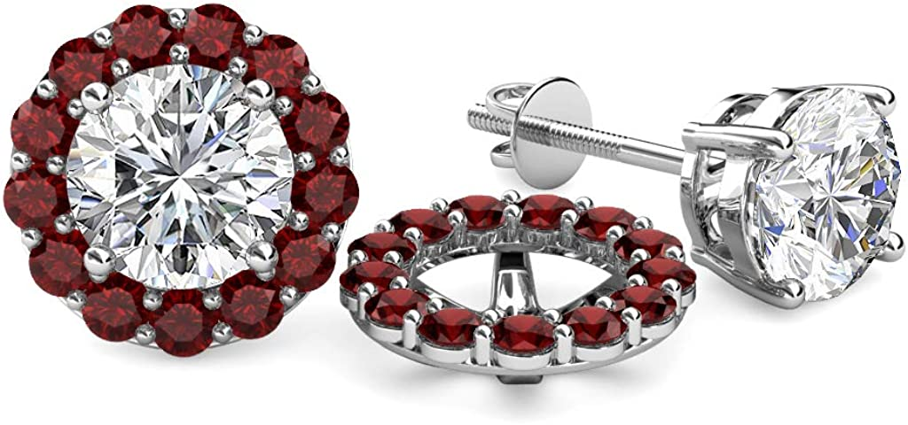 TriJewels Red Garnet Halo Jacket for Stud Earrings 0.96 cttw in 14K White Gold