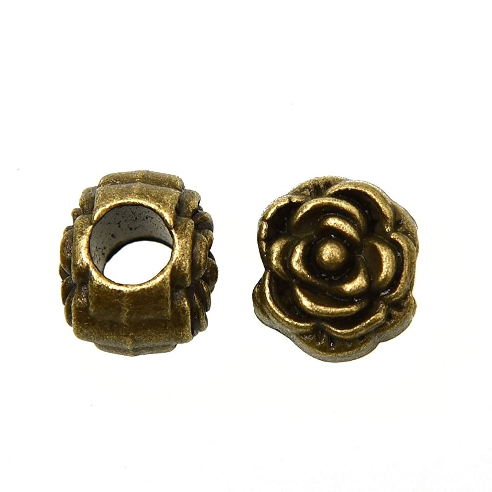 Monrocco 50 Pieces Zinc Alloy Rose Beads Jewelry Making Charms Rose Loose Beads Pendant