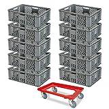 10er SPAR-Set PLUS GRATIS Transportroller, Bäckerkiste, 600x400x240 mm, lebensmittelecht, grau