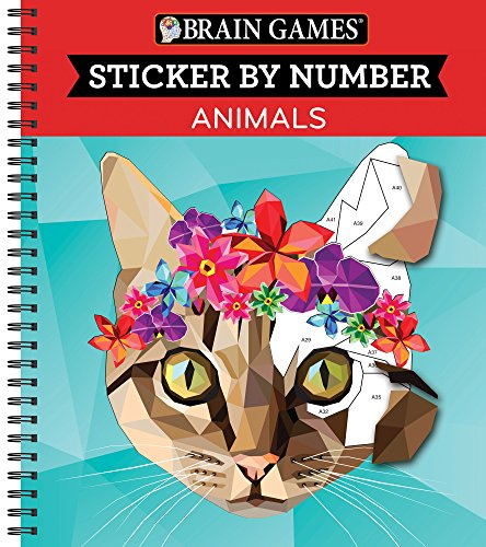Brain Games - Sticker by Number: Animals [Spiral-bound] Publications International Ltd.