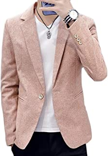 SHOWNO Mens Slim Fit Manga Larga botón de Solapa una Visita Casual Blazer Jacket