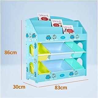 YXB KSBRM Cubos Niños Librería Display Revista Archivo Organizador Unidades Cubos de Almacenamiento Estantes Fácil Montaje Niñas Dormitorio Niños Juguete Bebé Productos (Color: Azul)