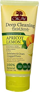 OKAY | Apricot & Lemon Facial Scrub | Deep Exfoliation | Leaves Skin Refreshed | With Natural Extract | Free of Alcohol, Sulfate, Paraben | 6 oz