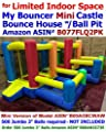 """My Bouncer Best for Limited Space Little Mini Castle Bounce House 102"""" L x 80"""" W x 66"""" H Jumper Bopper w/ Built-in Ball Pit; Hoop & Step ( Required 300 Jumbo 3"""" Balls -NOT Included Sold Separate )"""