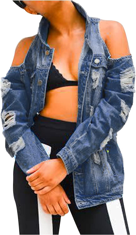 Oversize Denim Jacket for Women Ripped Jean Jacket Boyfriend Loose Long Sleeve Button Down Coat Distressed Trench Coat