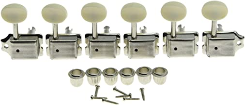 Dopro Nickel with Aged White Button Split Shaft Vintage Guitar Tuning Keys Pegs Tuners for Strat Tele