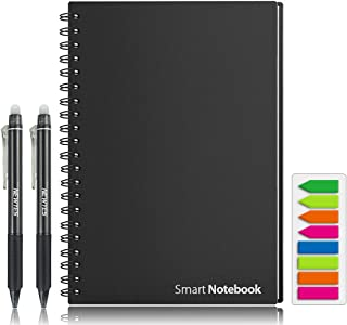 """Smart Reusable Notebook, HOMESTEC College Ruled Eco-Friendly Notebook with 2 NEWYES Erasable Pen & Sticky Notes Included,Letter Size (8.7"""" x 11.2"""")"""