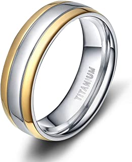 TIGRADE 6mm/8mm Titanium Two Tone Dome Polished Comfort Fit Wedding Band Rings for Women and Men