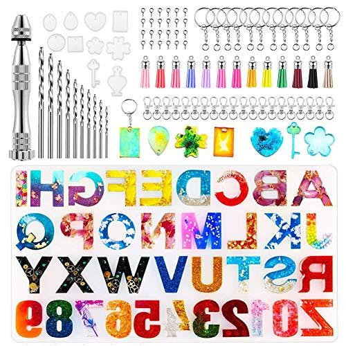 101 moldes de resina con letras y números del abecedario para llavero, número de joyas, molde de polvo, purpurina, resina epoxi, herramientas y accesorios metálicos para colgante joyas