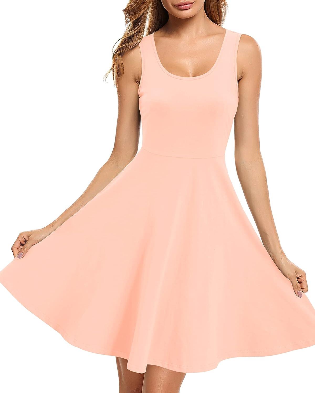 STYLEWORD Women's Summer Dress Casual Skater 5 ☆ popular El Paso Mall Sleeveless Cotton M