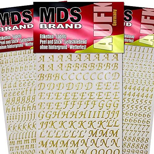 MDS Brand Schreibschrift Buchstaben & Zahlen (1cm) zum beschriften von Kerzen 3er/pk für Hochzeitskerze, Taufkerzen, Kommunionkerzen oder dankeskarten, einfach zum basteln und gestalten 20(Gold)