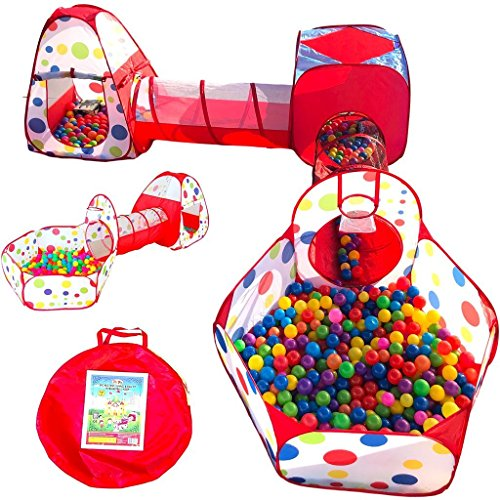 Playz 5-Piece Kids Play Tents Crawl Tunnels and Ball Pit Popup Bounce Playhouse Tent with Basketball Hoop for Indoor and Outdoor Use with Red Carrying Case