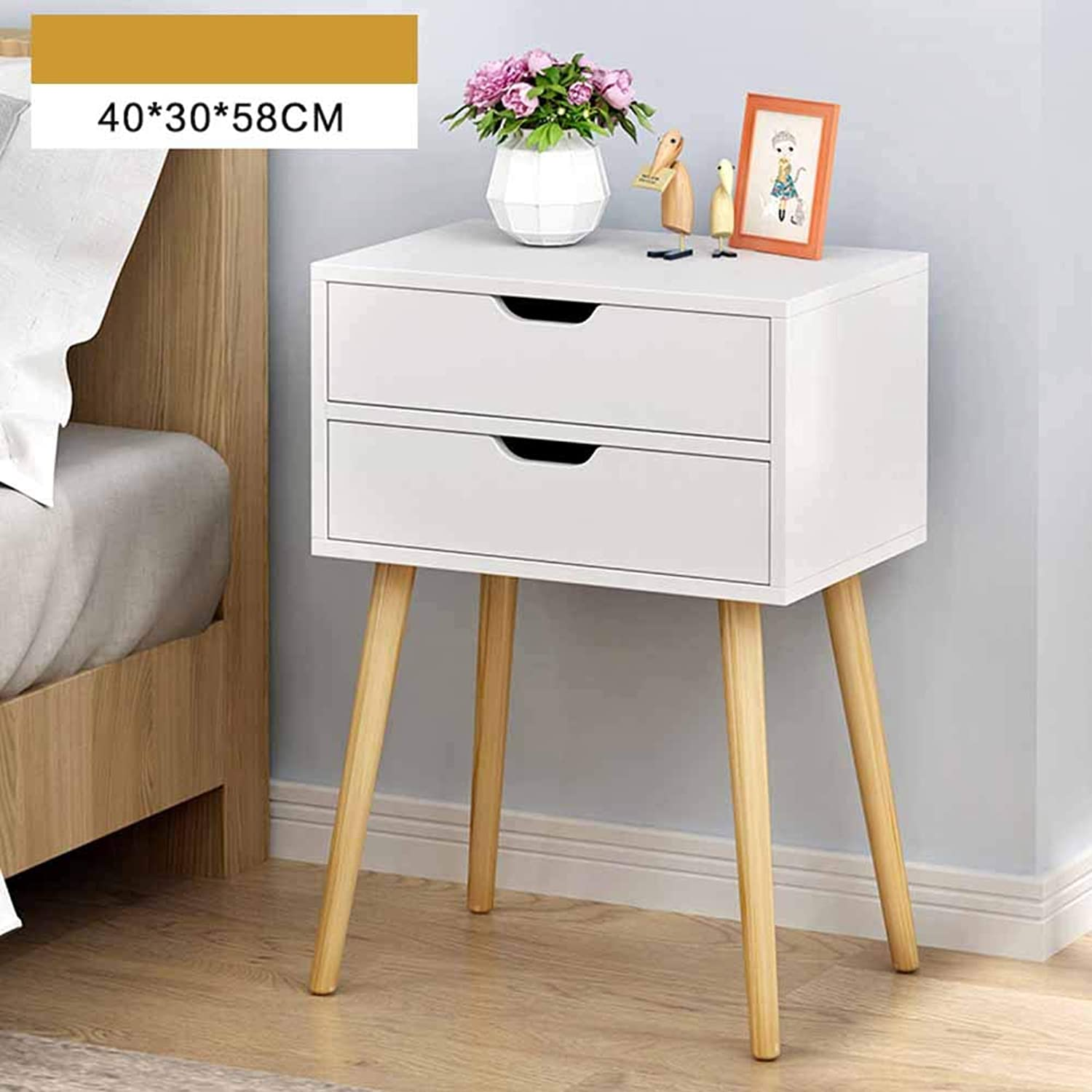 Coffee Table Lockers, Solid Wood Legs Double Drawer Invisible Handle Multi-Storey Storage Shelf Suitable for Living Room Bedroom 2 Colours (color   White)