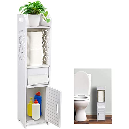 Amazon Com Gotega Small Bathroom Storage Toilet Paper Storage Corner Floor Cabinet With Doors And Shelves Hollow Carved Design Bathroom Organizer Furniture Corner Shelf For Paper Shampoo White Kitchen Dining