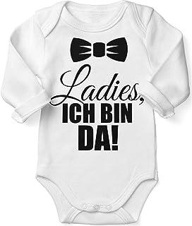 Mikalino Babybody mit Spruch für Jungen Mädchen Unisex Langarm Ladies, ich Bin da! | handbedruckt in Deutschland | Handmade with Love