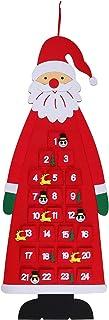Suwimut Christmas Felt Advent Calendar, 2020 Wall Hanging 3D Santa Advent Calendar with 24 Days Pockets Reusable Fabric Ch...