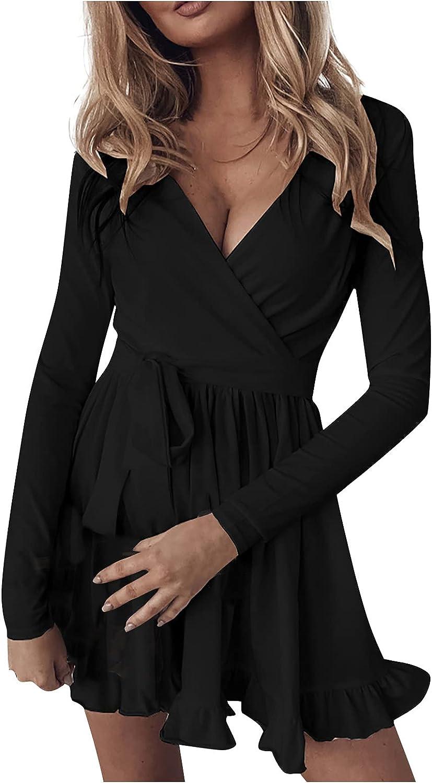 VEZAD Women's Deep V Neck Slim Ruffle Print Solid Color Dress Floral Belt Long Sleeve Mini Dress