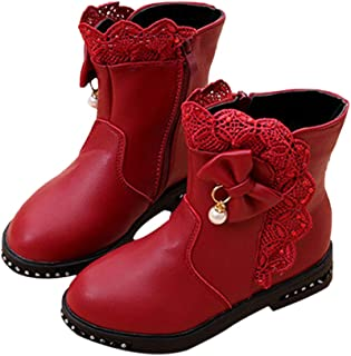 Hopscotch Girls PU Applique Ankle Length Boots in Red Color