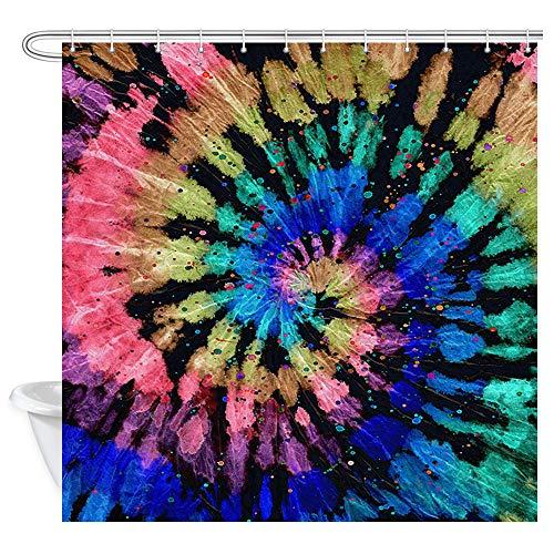 JAWO Bunte Batik-Duschvorhang Wasserdicht Badezimmer Duschvorhang Abstrakt Regenbogen Spirale Batik-Design Stoff Duschvorhänge 179,8 x 177,8 cm