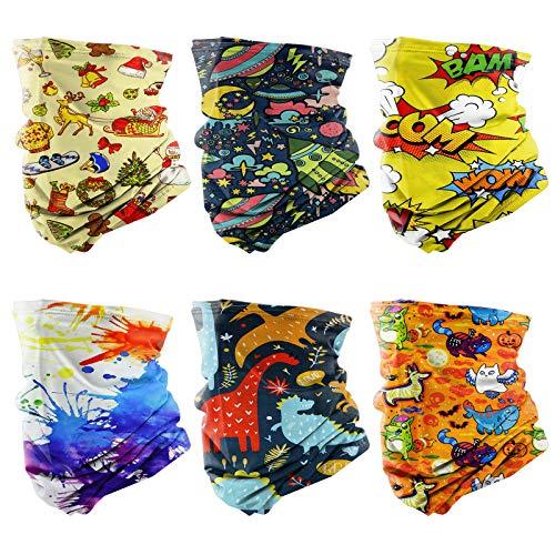 Bigmeda 6 Stück Halstuch für Kinder [32 * 20cm/UV-Beständig/Atmungsaktiv] Bandana Mundschutz Tuch Kinder mit verstellbarem Gummiband, Schlauchschal für Jungen und Mädchen zwischen 3-6 Jahren