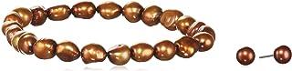 Sakura Pearl–Parure da donna braccialetto + orecchini Zuchtperl Choco Set in argento 925rodiato con perla coltivata di ...