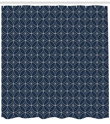 Presock Geometric Duschvorhang, Abstract Dotted Floral Arrangement Circular Traditional Japanese Motifs, Fabric Bathroom Decor Set with Hooks, 60 x 72Inch, Dark Blue Cream