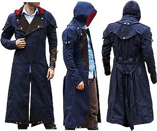 Mens AC Unity Cosplay Costume Cloak Denim Hoodie Long Coat Jacket
