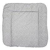 TupTam Baby Wickeltischauflage mit Baumwollbezug Gemustert, Farbe: Sternchen Weiß/Grau, Größe: 75 x 85 cm