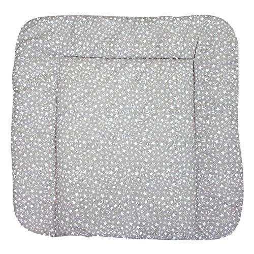 TupTam Baby Wickeltischauflage mit Baumwollbezug Gemustert, Farbe: Sternchen Weiß/Grau, Größe: 70 x 70 cm
