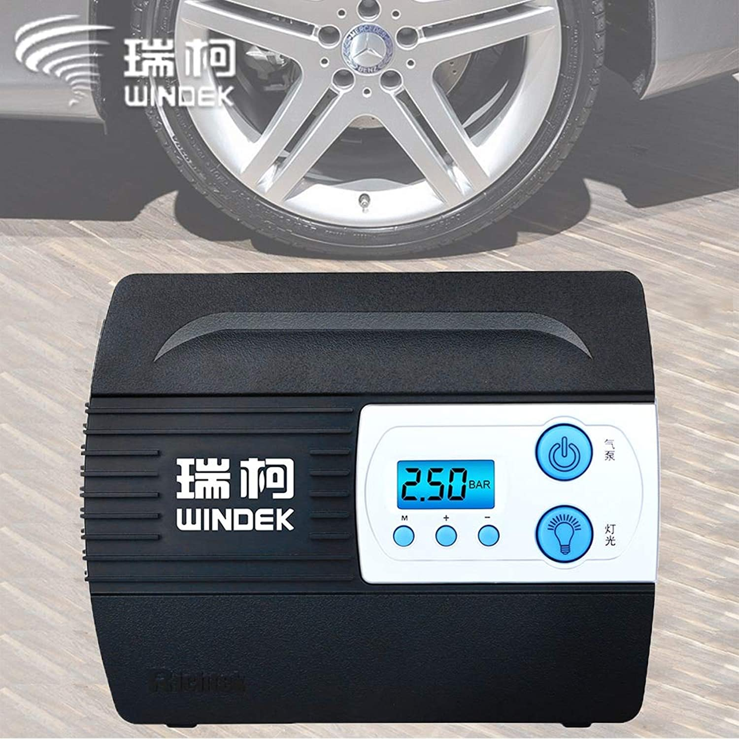AoforzBrand Car Auto Air Compressor Tire Inflator Pump with Preset Tyre Pressure and Inflate Auto Stop Function for Tires 12V Digital