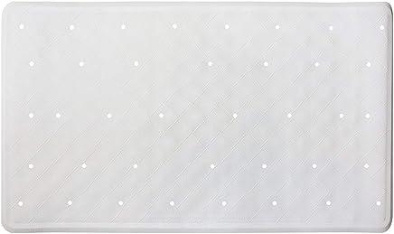 ANSIO Bath Mat Bathtub Non-Slip Anti Mould Rubber Shower Mat with Drain Holes & Suction Cups Machine Washable 40 x 70 cm / 15.8 x 27.7 inches - White