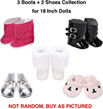Weardoll Matching 5 Pairs Shoes fits American Girl Doll Accessories - 18 inch Doll Clothes Accessories Set Fits American Girl, Our Generation, Journey Girls