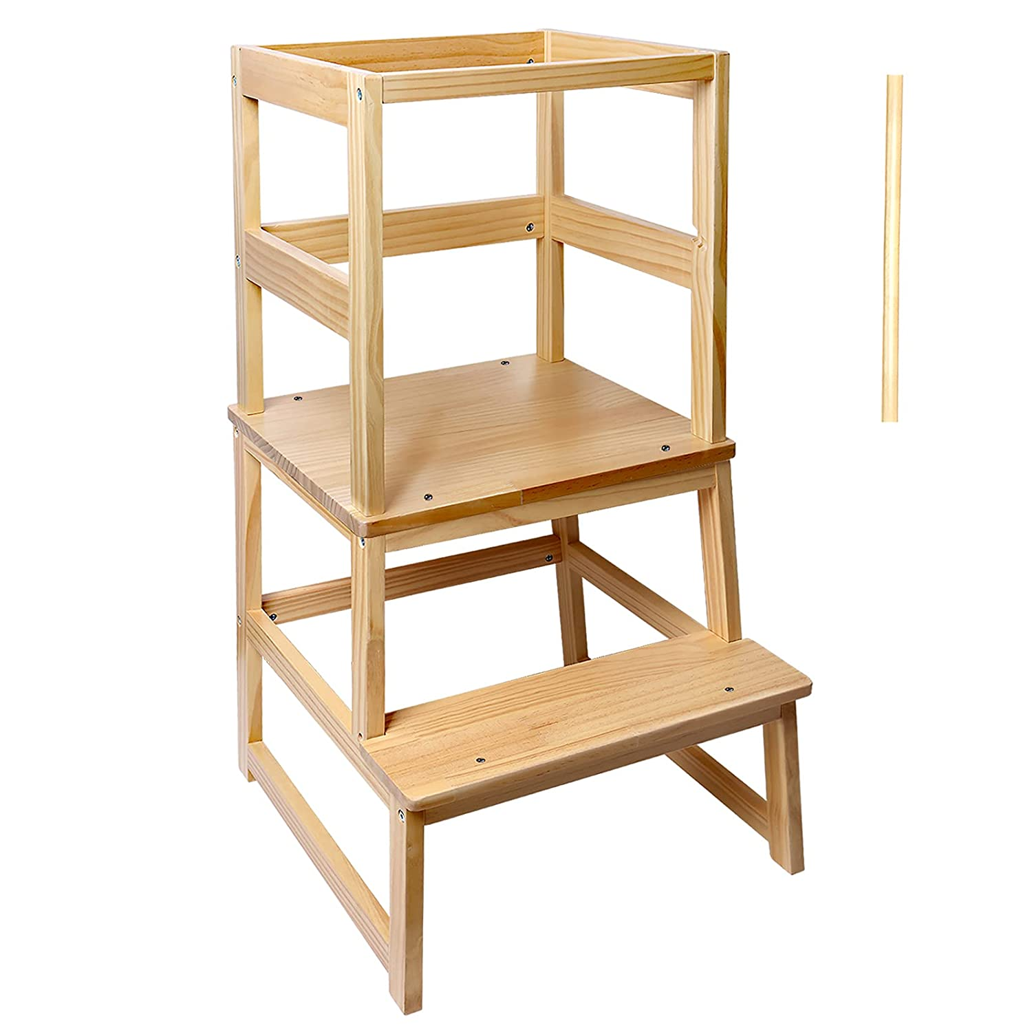 Solid Wood High Toddler Learning Tower Step Stool for Kids Fetching Footstool Ladder Lavatory Kitchen Helper Counter Washing Hands Woodgrain with Wide Pedal
