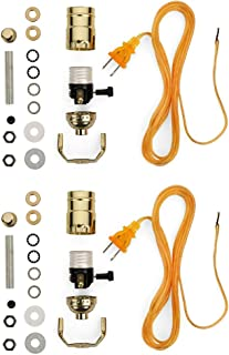 Lamp-making Kit - Electrical Wiring Set to Make, Repair and Repurpose Lamps - Rewire a Vintage Lamp or Create a Custom Light From Scratch - Glossy Brass Socket with an 8 Foot Long Gold Cord - 2-pack