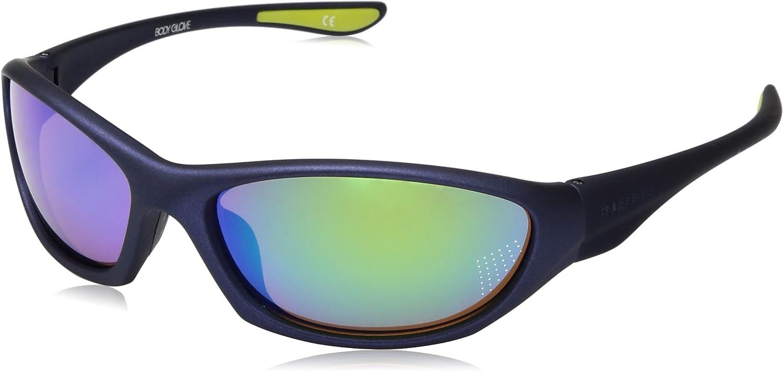 Body Glove Men's Vapor 22 Sunglasses Polarized Wrap, Navy Rubberized/Blue Mirror, 62 mm