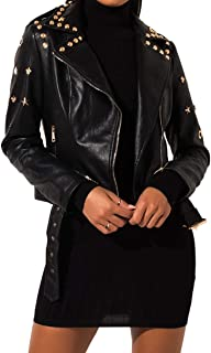 AKIRA Azalea Wang Women's Studded Faux Leather Gold Hardware Removable Belt Moto Jacket