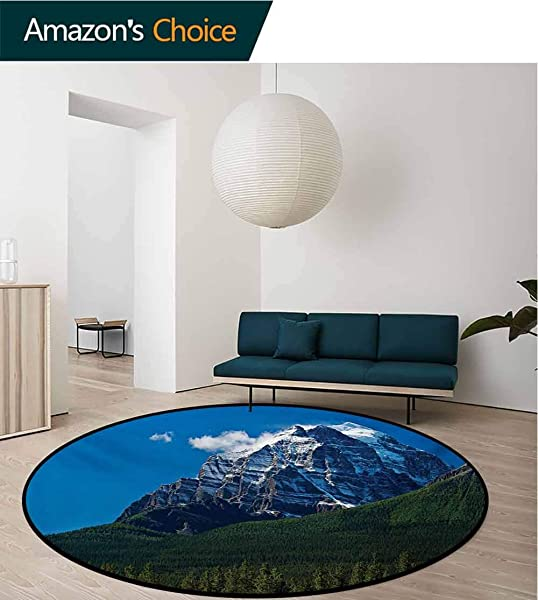 RUGSMAT Mountain Super Soft Circle Rugs For Girls Snow Covered Mountain Peaks With Vivid Sky And Vibrant Trees National Park Circular Area Rugs For Kids Bedroom Diameter 47 Inch Green Blue White