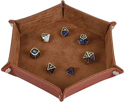Dice Tray Holder Storage for RPG, DND and Other Table Games Folding Leather and Velvet Camel
