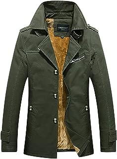 Men's Winter Plus Velvet Mid-Length Slim with Epaulettes Trench Coat
