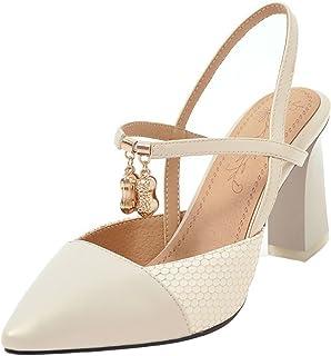 Mofri Women's Elegant Beaded Charms Pointed Toe High Chunky Heel Pumps Sandals