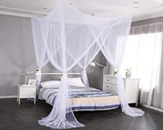 Mengersi 4 Corner Post Elegant Mosquito Net Curtain Bed Canopy for Single Twin Twin XL Size Bed,Suitable for Indoor Outdoor Net (L80xW40xH80 inch, White)