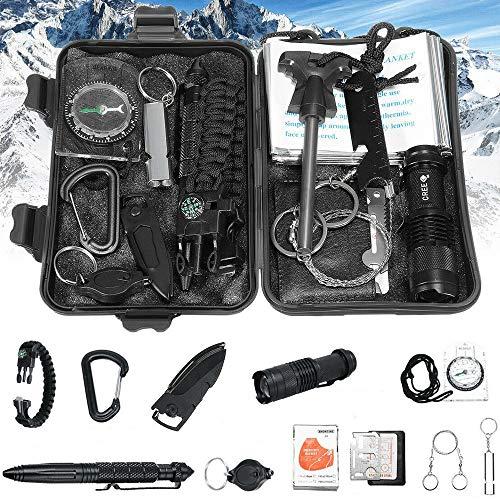DOBO Kit 13in1 Sopravvivenza SOS Militare Professionale Emergenza Trekking Escursionismo Kit di Attrezzatura Esterna Sport Aria Aperta Campeggio Alpinismo